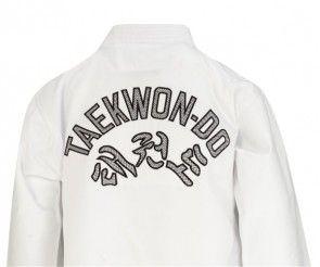 Matsuru Taekwon-do pak V-hals wit geborduurd achterkant